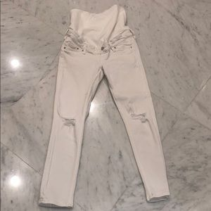 H&M white distressed skinny maternity jeans